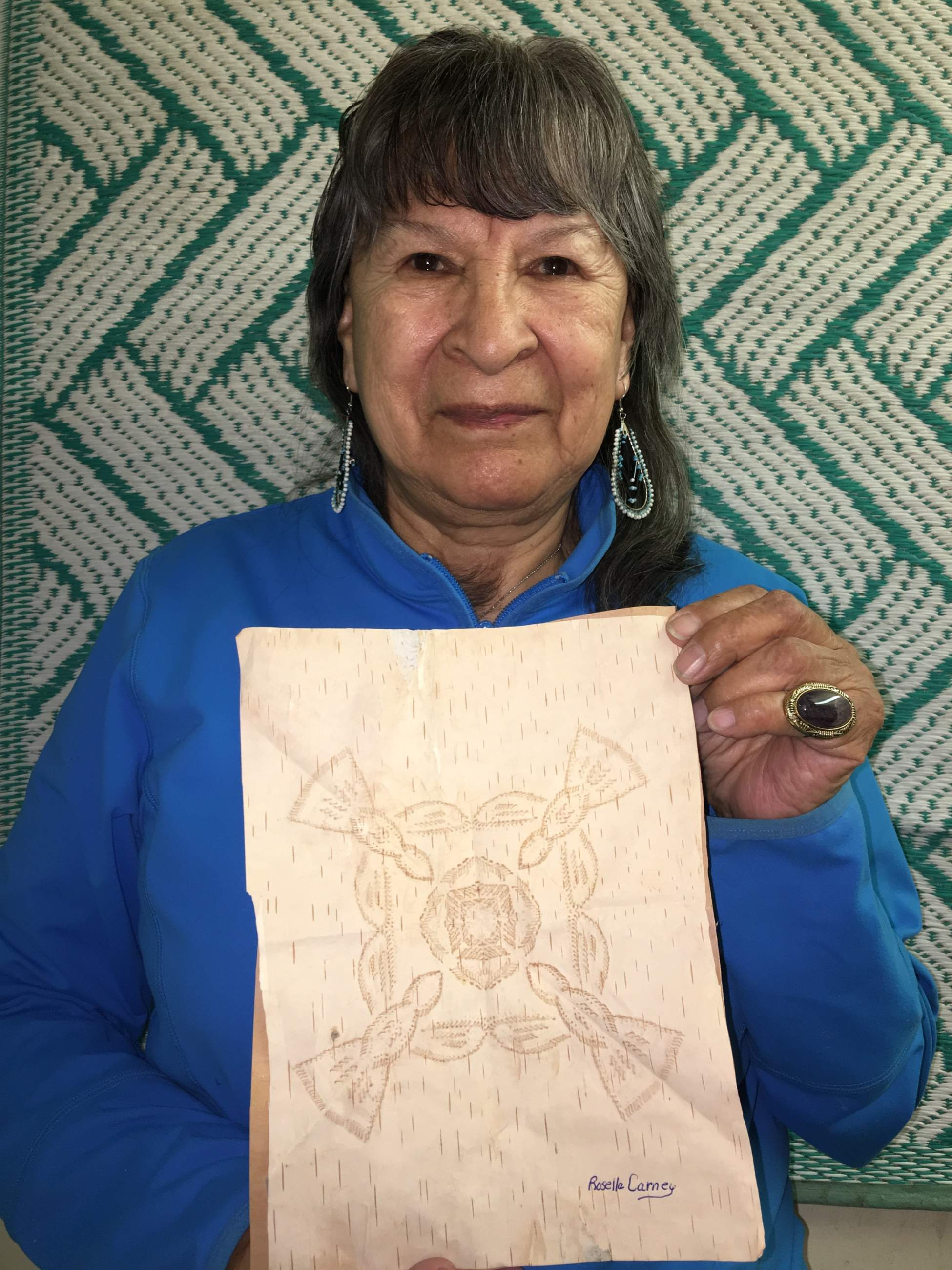 Rosella Ross Carney from northern Saskatchewan continues an old Indigenous tradition of birch bark biting art.