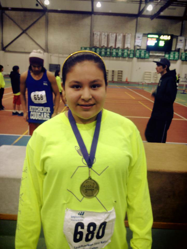 Kyana Bear, a grade 6 student from Kakiswew Ochapowace School, broke the provincial record in shot put with a throw of 10.82 meters.