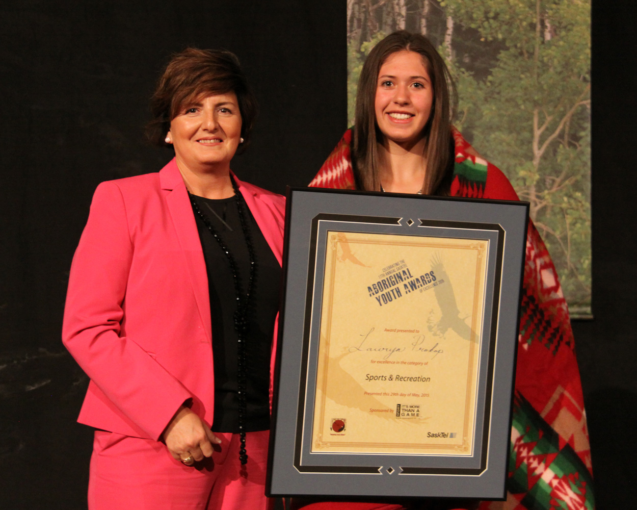 Lauryn Prokop received the Female Sport award from Audrey Young of SaskSport.