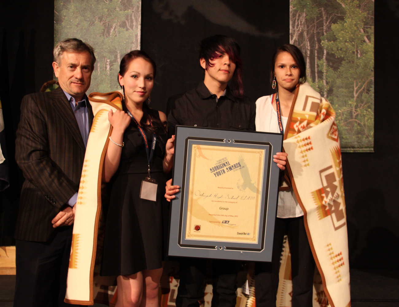 The Oskayak High School ELA 20 Group received the Group award from Eric Cline Vice President at K+S Potash Canada.