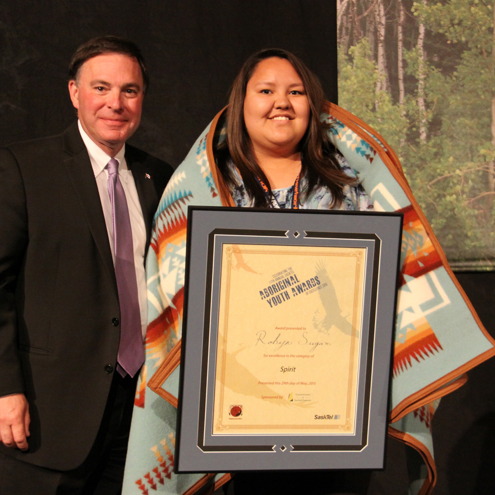 Robyn Sugar received the Spirit award from MLA Gord Wyant.