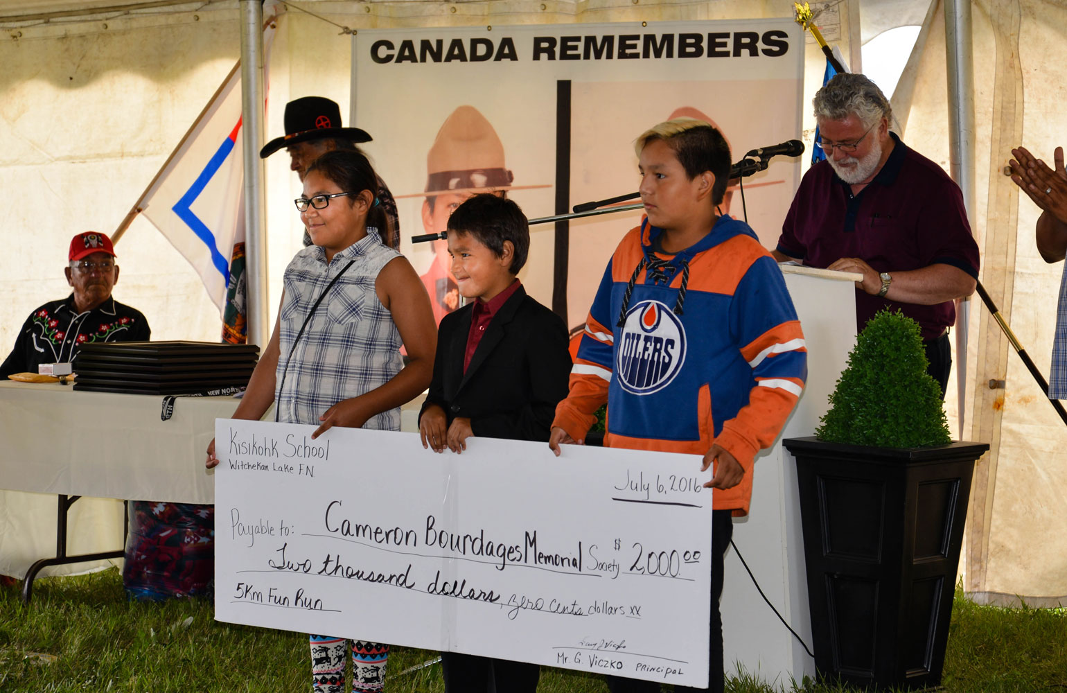 Students from Kisikohk School raised $2000 for Bourdages Cameron foundation.