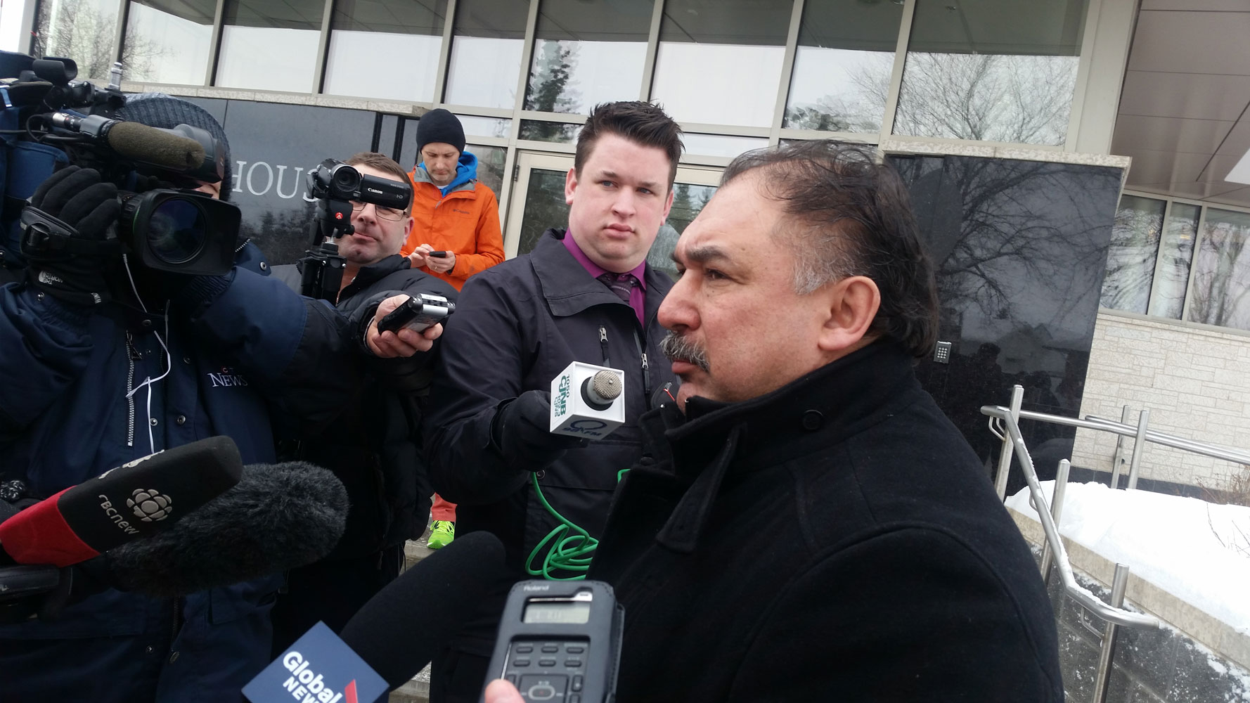 FSIN vice chief Bob Merasty speaks to media after the court appearance for the youth charged in the La Loche shooting.