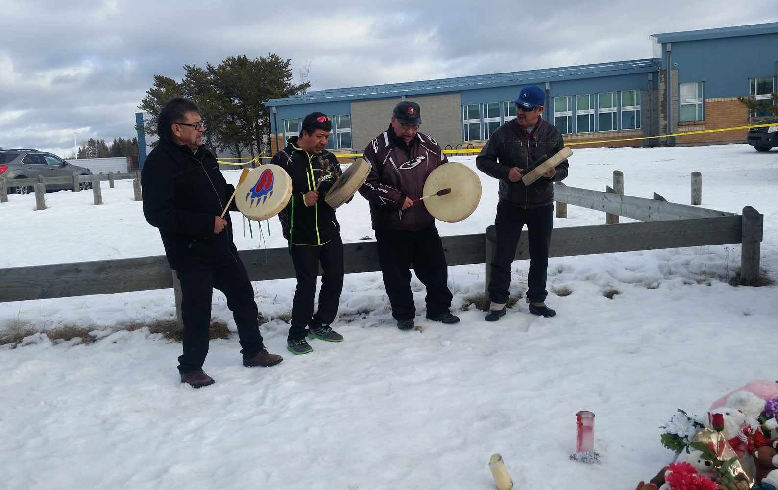 Dene drummers during the visit from Prime Minister Justin Trudeau.