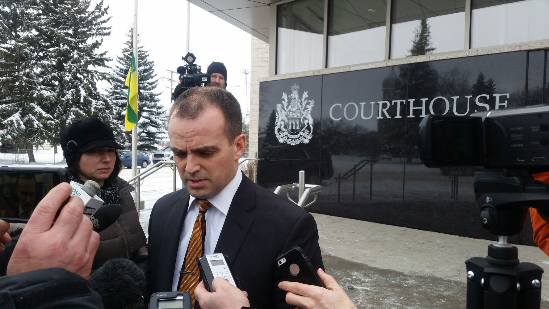 Lawyer Ian Mokuruk speaks to media after the court appearance for the youth charged in the La Loche shooting.