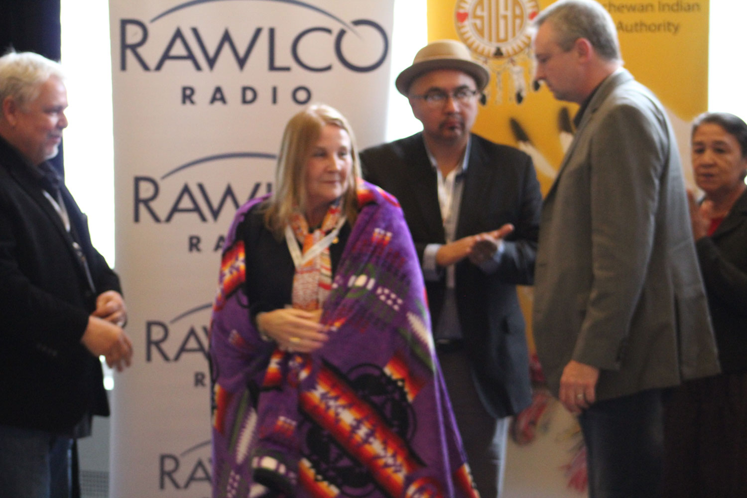 Marie Wilson was honoured with a blanket by the conference committee.