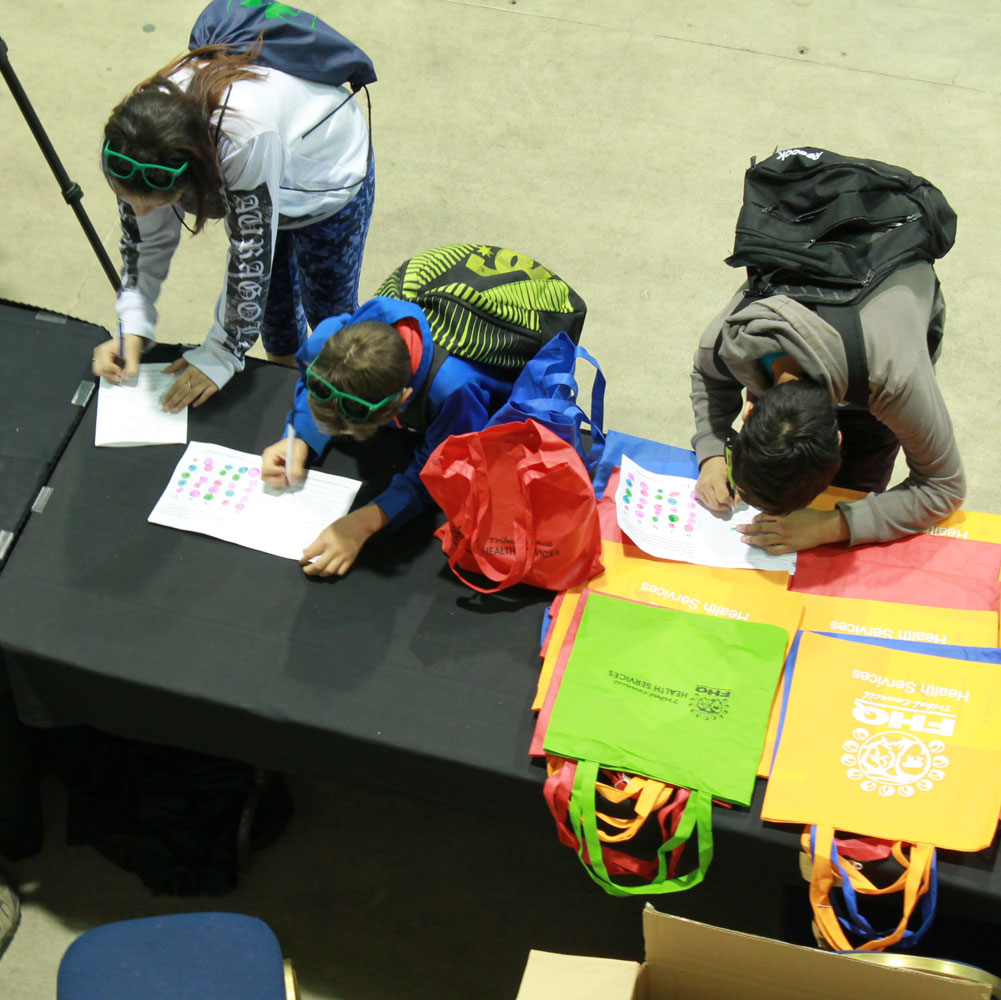 Students filling out the evaluation forms and bingo cards for door prizes.