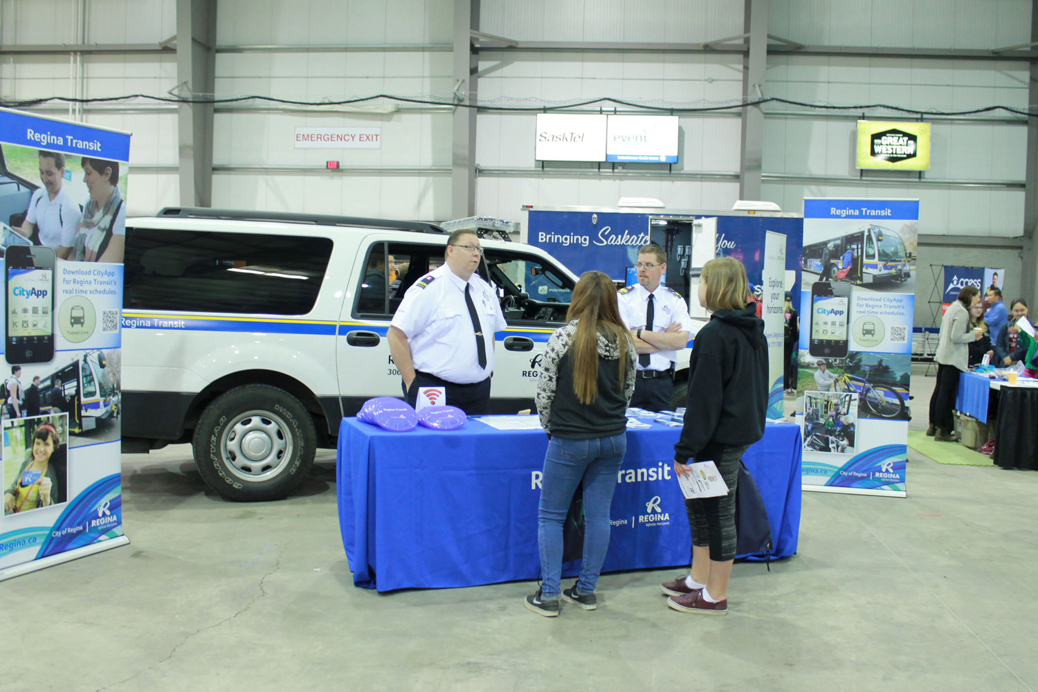 Checking out the Regina City Transportation booth.