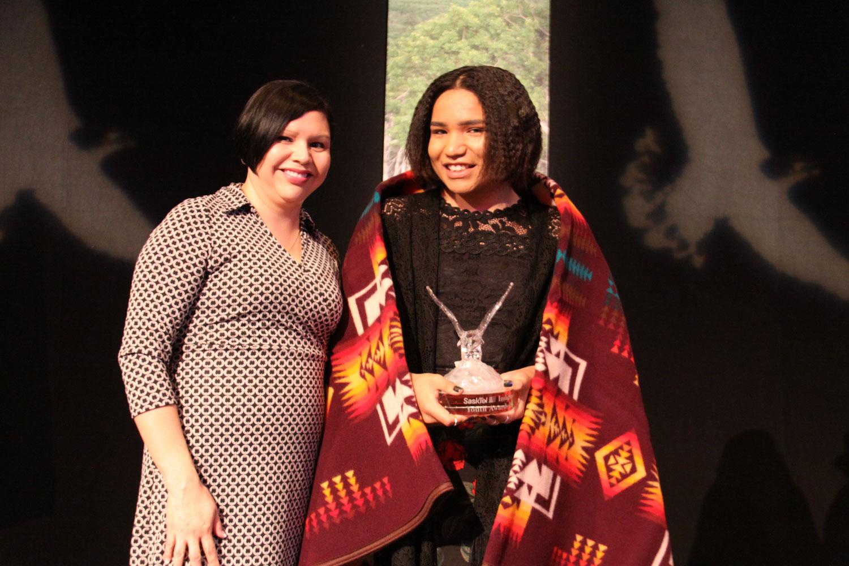MLA Jennifer Campeau presented the Spirit award to Joshua Bear