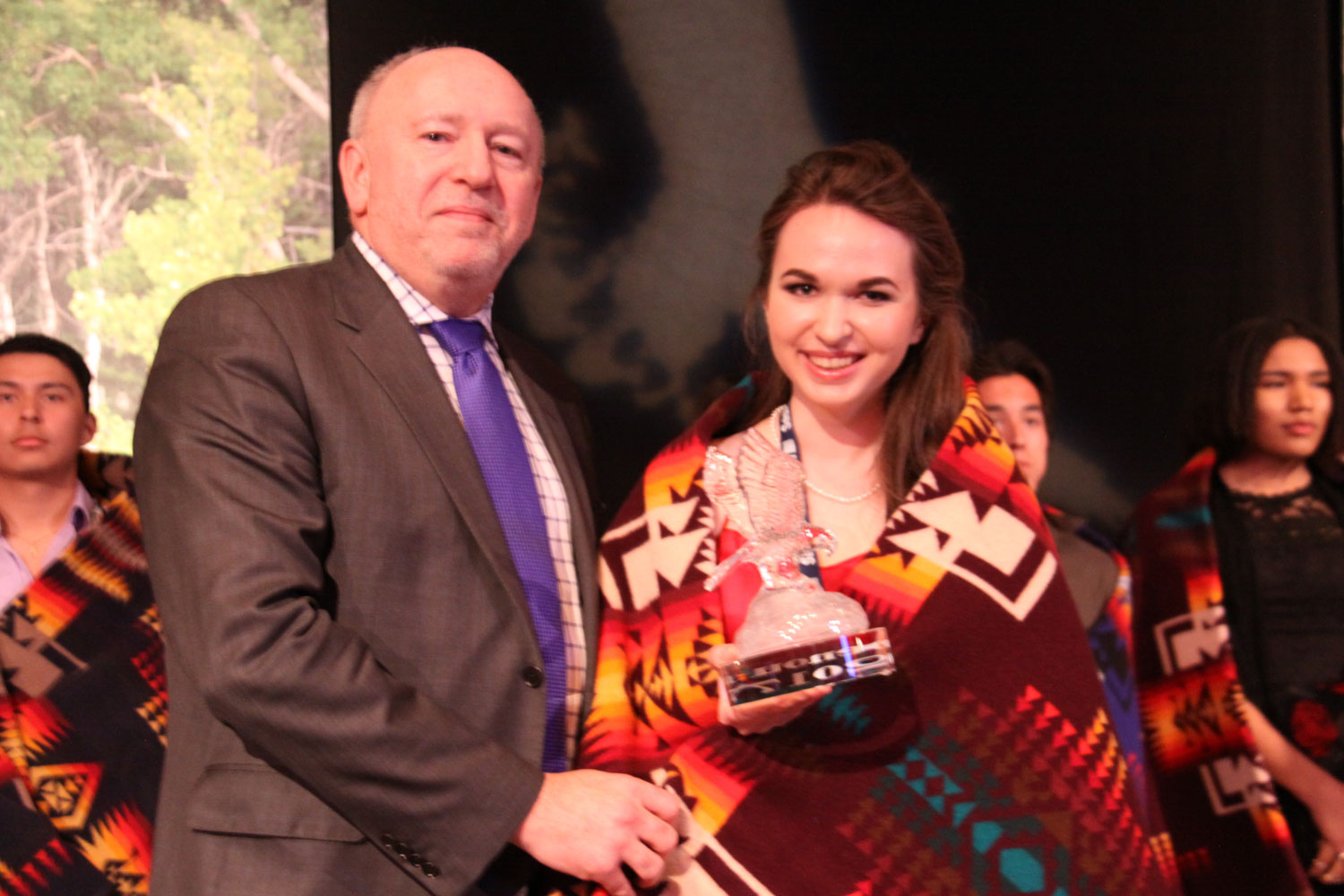 Ron Styles of SaskTel presented the Female Outstanding Achievement award to Sidney Shacter