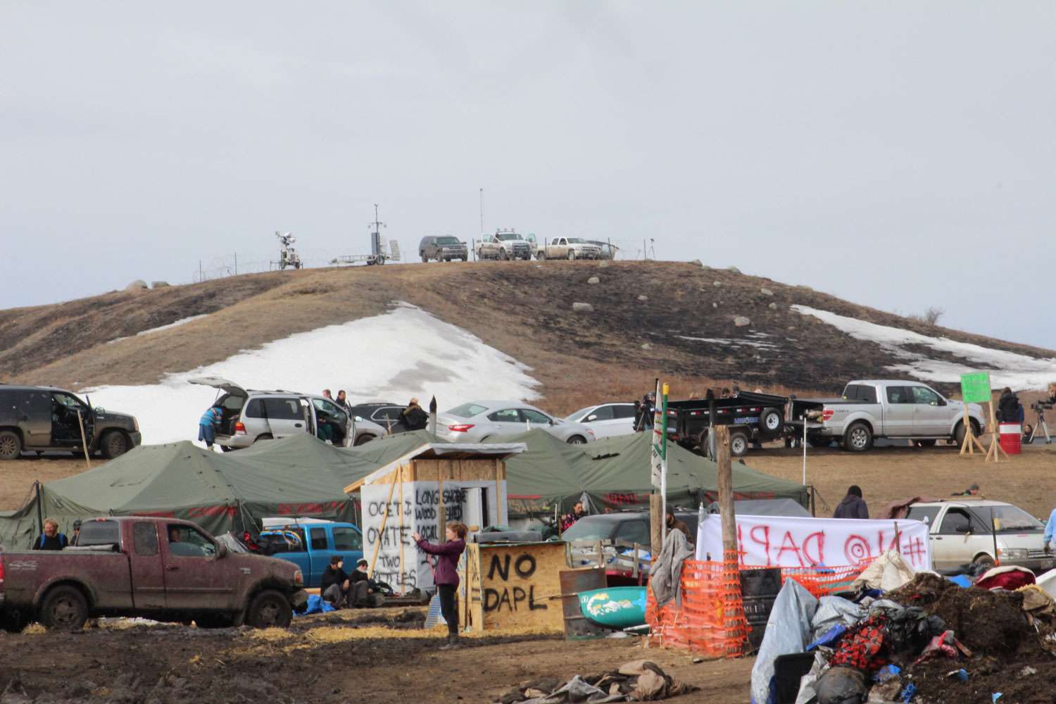 Enforcement overlooking the Oceti Sakowin camp.
