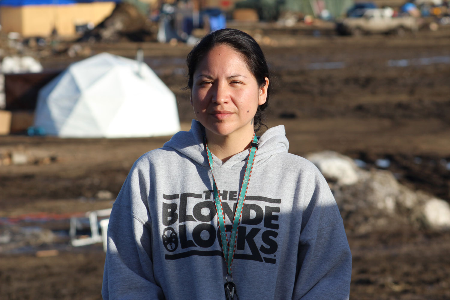 Water protector Brandy Maxie inside the Oceti Sakowin camp