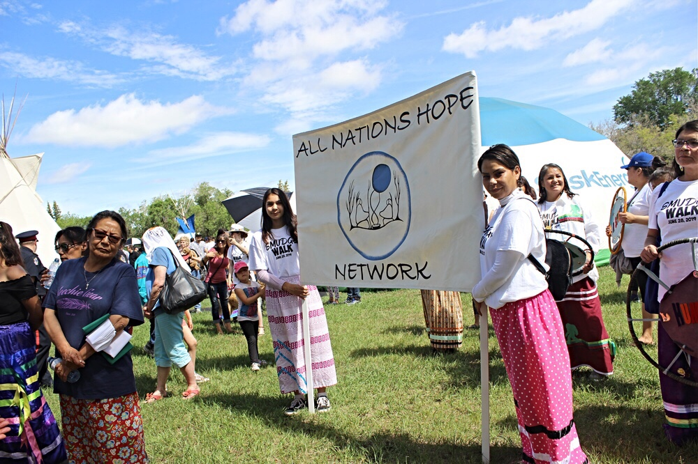 Participants line up for the 12th annual Smudge Walk.