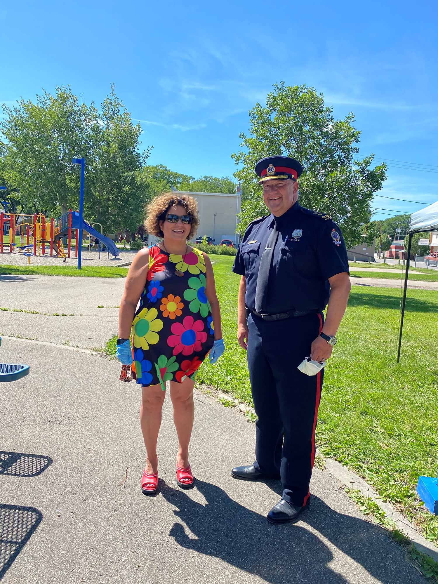 Erica Beaudin, the executive director of Regina Treaty/ Status Indian Services and (right) Regina Police Chief Evan Bray at the annual Awareness Event for Tamra Keepness.