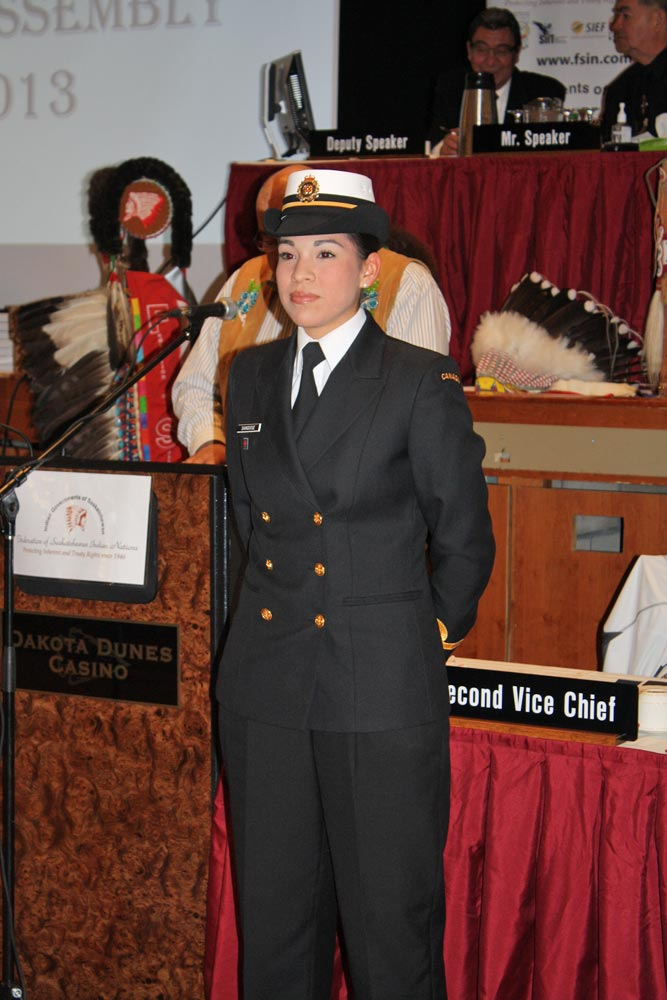 Sub-Lieutenant Nicole Shingoose was honoured during the second day of Assembly
