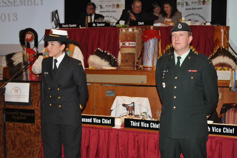 Sub-Lieutenant Nicole Shingoose and Captain Nolan Kemp being honoured by the Chiefs-in-Assembly