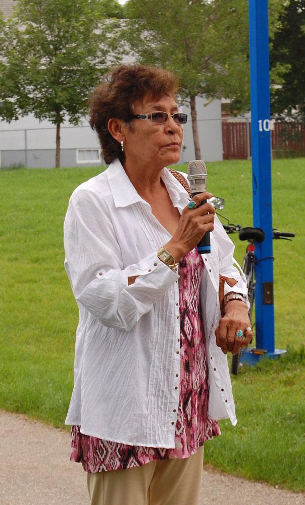 Tamra's kokum, Joyce Keepness, speaks on behalf of the family.