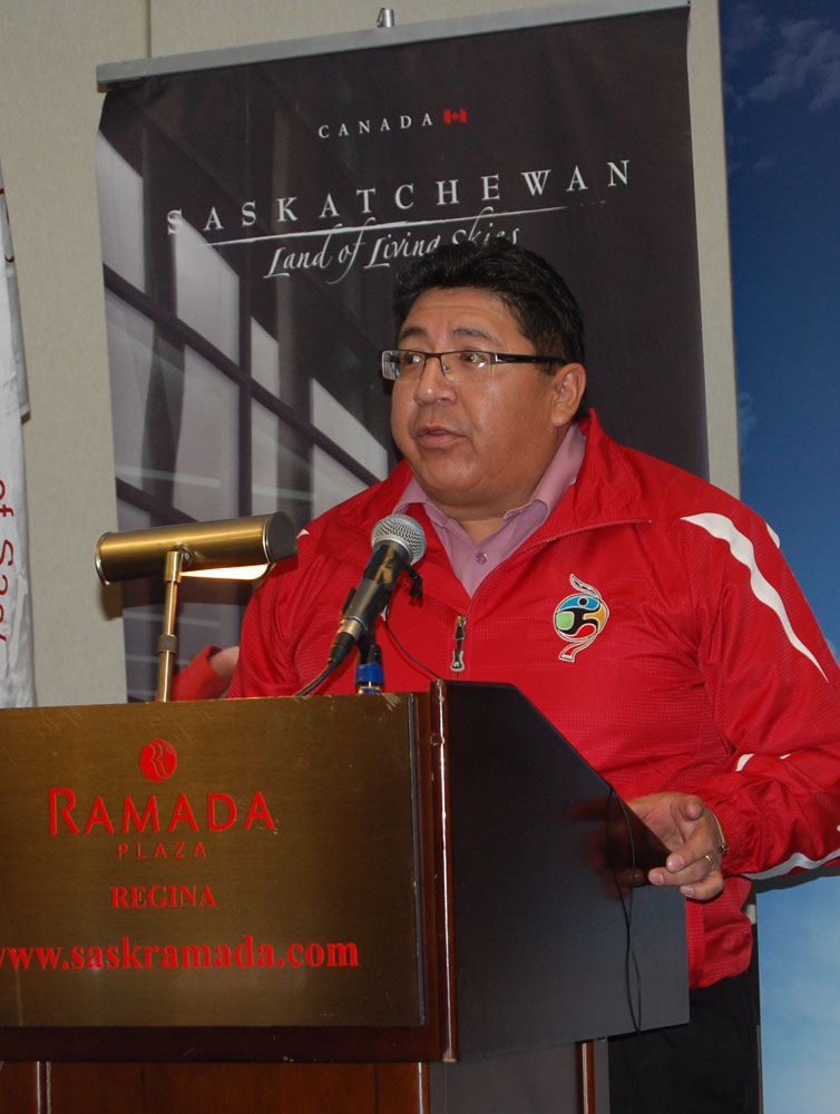 Stan Bobb (Saskatchewan First Nations CDC Association) talking about CDC being a sponsor for 2014 NAIG.