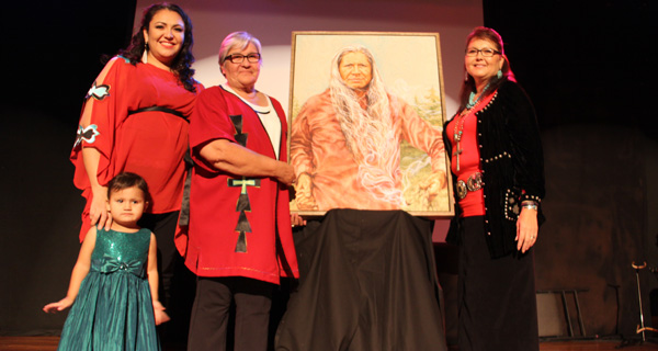Gordon's daughter Disa Tootoosis, his daughter's granddaughter Ni'vy, his wife Irene Tootoosis and daughter Alanna Tootoosis-Baker unveiled the portrait commissioned to honour the late Gordon Tootoosis.