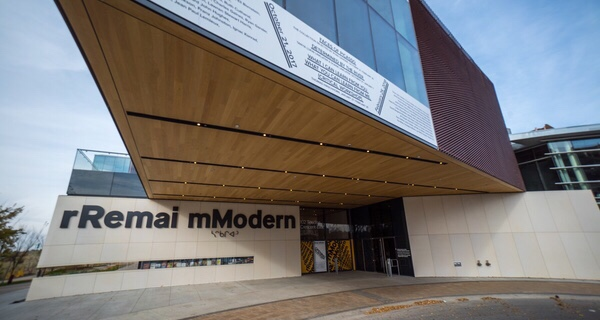 The front entrance of the rRemai mModern Art Gallery in Saskatoon.