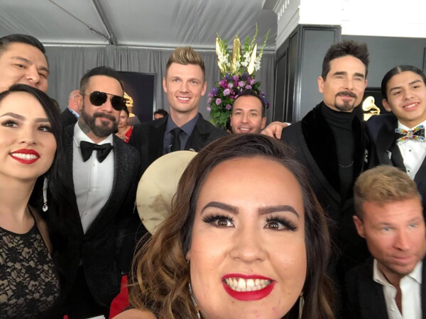 Young Spirit members and family with the Backstreet Boys at the 2019 Grammy's