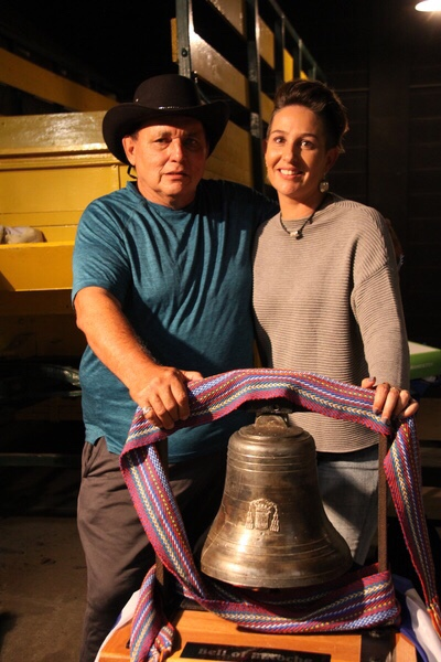 Billyjo De la Ronde, the Keeper of the Bell of Batoche, posed with Lisa Mooney from Nutrien with the captivating Bell.