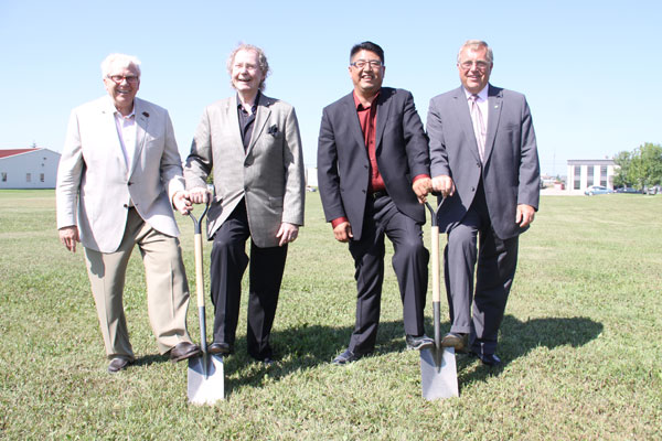 From left, Board Chair Frank Proto, Muskeg Lake Cree Nation Honourary Chief Bill McKnight, Muskeg Lake Cree Nation Chief Cliff Tawpisin Jr. and Saskatoon Mayor Don Atchison took part in the official sod turning.