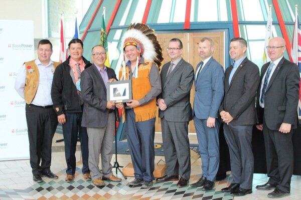 Indigenous leadership and community partners gathered to witness the signing of the First Nations Opportunity Agreement.