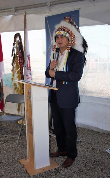 Cowessess First Nation Chief Cadmus Delorme introduced the completion of the solar power installation at the Cowessess Renewable Energy Storage Facility.