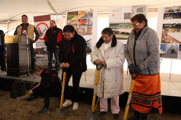 Youth representatives Gunner Kaysaywaysemat and Kahkewistahaw 2018/2019 Princess Elliana Mckay and elders Joan Robillard and Wendy Alexson were asked to do the ground breaking for the Kahkewistahaw First Nation Eagles Landing Business Park development.