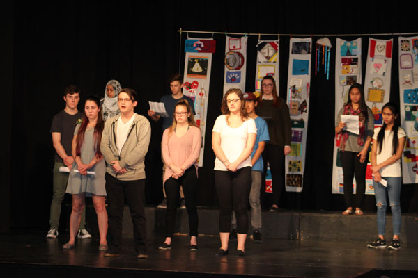 A group of Balfour Collegiate students recited various TRC Calls to Action and each student spoke why honouring the TRC report, Calls to Action and reconciliation is important for them and for future generations.