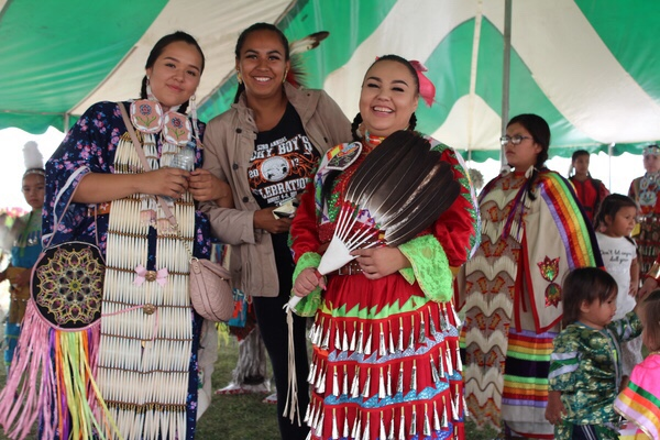 Dancers enjoyed themselves at the FNUniv Tony Cote Welcome Back powwow where they gathered on the front lawn under a tent earlier this week.