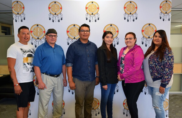 SIGA-Saskatoon-SIIT-Scholarship-Recipients-2018<Br>L to R: Nathan Chamakese, Howard Desnomie, Evan Chamakese, Robyn Whitefish, Shawna Natewayes, Marissa Lafleche-Anderson<Br>