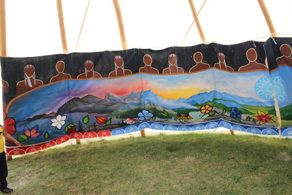 Art installations were unveiled inside the tipis the morning of the 'Welcome Back' powwow.