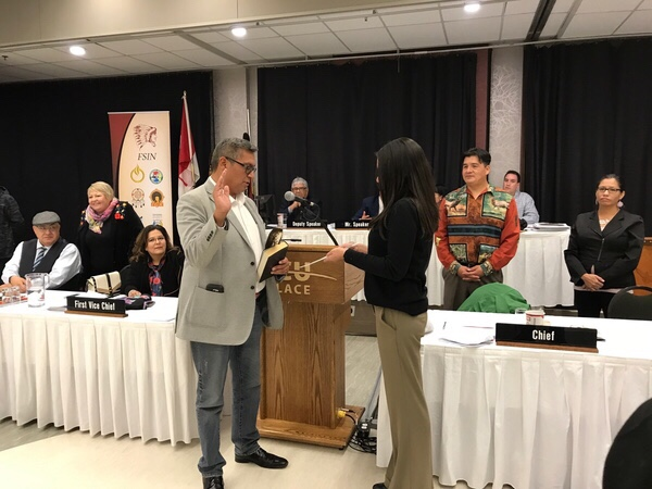 David Pratt, FSIN Second Vice-Chief, being sworn-in following election results announcement in Saskatoon