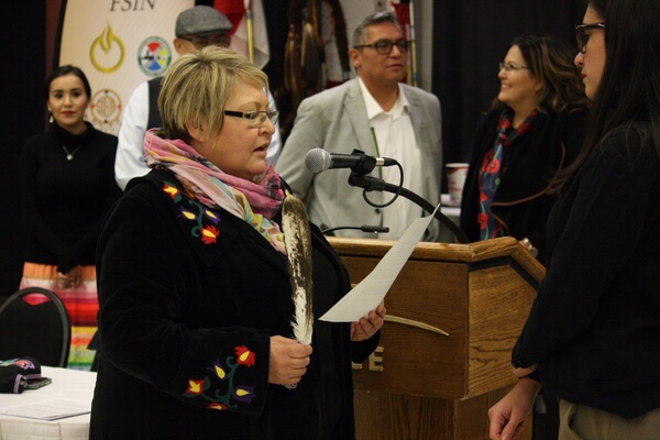 Heather Bear, FSIN Fourth Vice-Chief, being sworn-in following election results announcement in Saskatoon