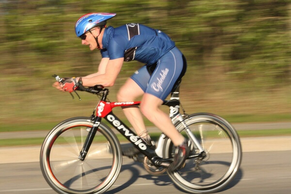 Bruce cycling in the Waskesiu Triathlon
