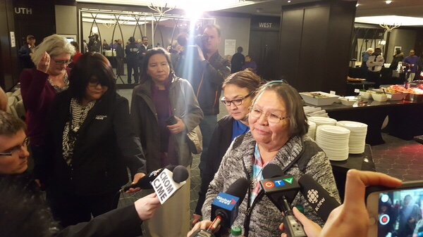 Laura Apooch, mother of the late Nadine Machiskinic, tells media she's grateful for everyone present at the inquiry.