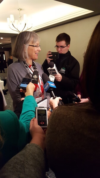 Fraught with issues, the National Inquiry into Missing and Murdered Indigenous Women and Girls was voted as this year's Newsmaker of the Year. Here is Chief Commissioner Marion Butler addresssing the media when the inquiry was in Saskatoon.