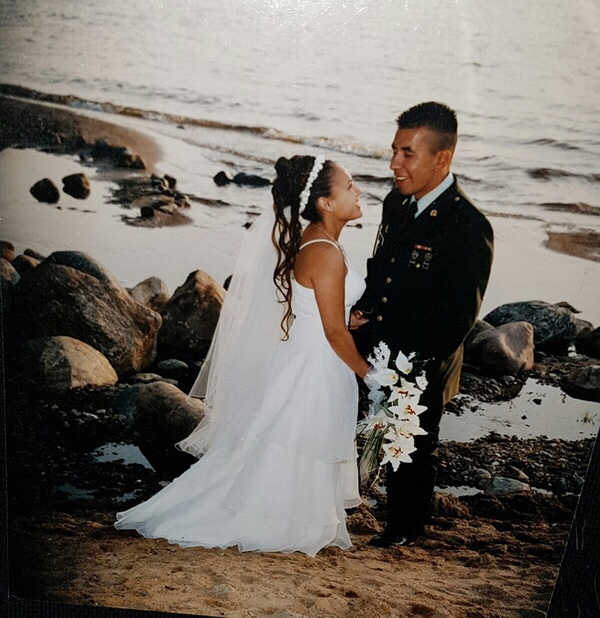 Veronica and Sgt. Darby Morin on their wedding day.