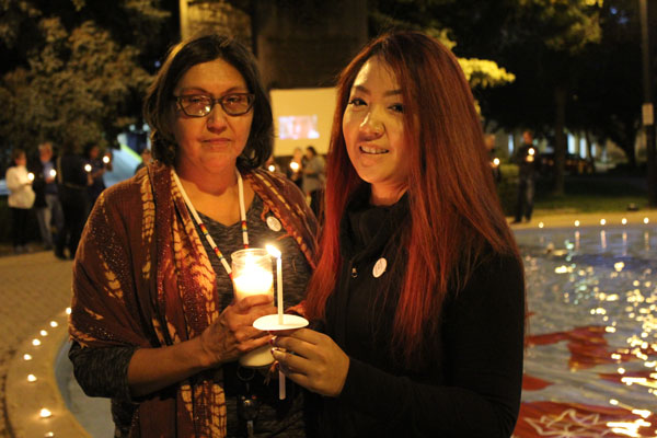 (L-R) Marcia and Scarlett Gordon from Regina attended the candlelight vigil in support of the Boushie family and hopes the event creates more awareness on racism that ignited after the shooting one year ago.