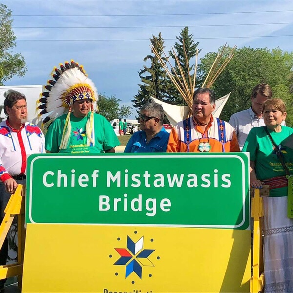 Dignitaries, including Mistawasis Chief Daryl Watson, unveiled the new name for the North Commuter Parkway (NCP) bridge which will be known as Chief Mistawasis Bridge. Photo supplied.<Br>
