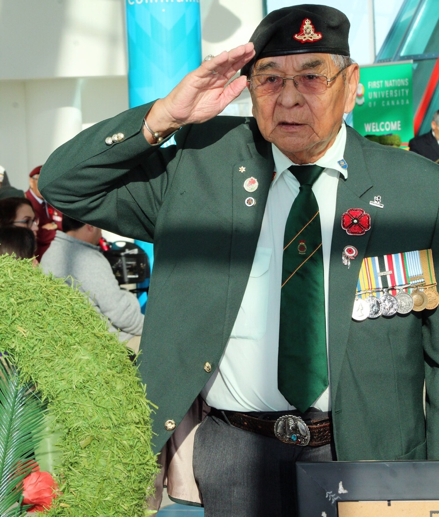 Korean War Veteran Tony Cote laid a wreath to commemorate the Indigenous veterans – past and present.