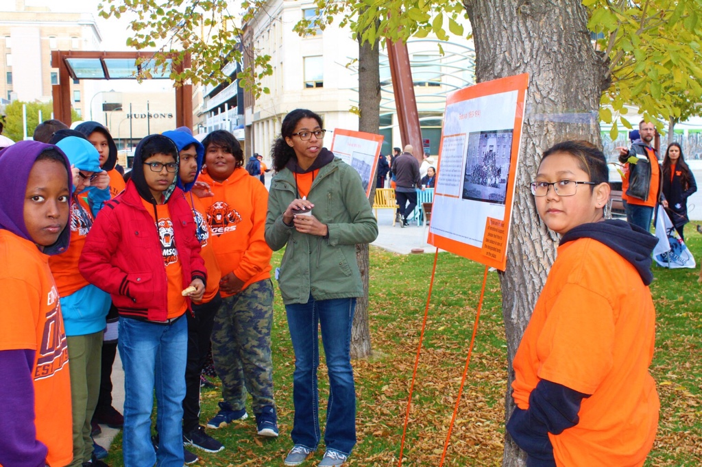 Students and teachers from various schools in Regina attended the Orange Shirt Day event to learn more about Canada's Indian residential schools and honoured the students who attended.