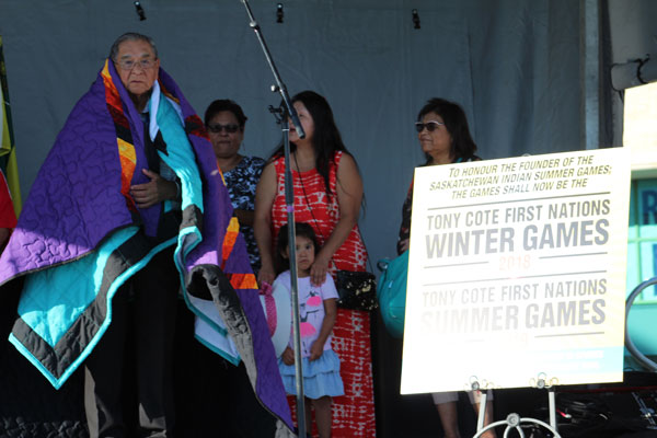 Founder Tony Cote was gifted blankets after the announcement was made that the Saskatchewan First Nations Summer Games will be named after him.