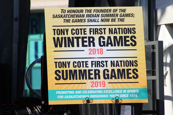 The official sign of the renaming of the Saskatchewan First Nations Summer Games to the Tony Cote First Nations Summer and Winter Games.