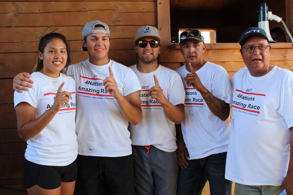 Team Bear from Ochapowace First Nation are the 4 Nations Amazing Race winners of the first annual competition. (L-R: Lenasia Ned, Ethan Bear, Chance Bear, Kane Bear and Paul Bear).